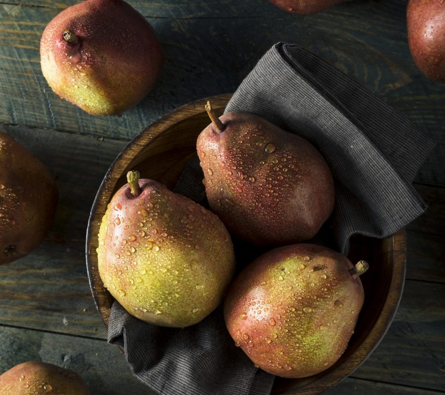 Raw Organic Red Anjou Pears Ready to Eat